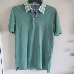 Harmont & Blaine Green Plaid Collared Polo